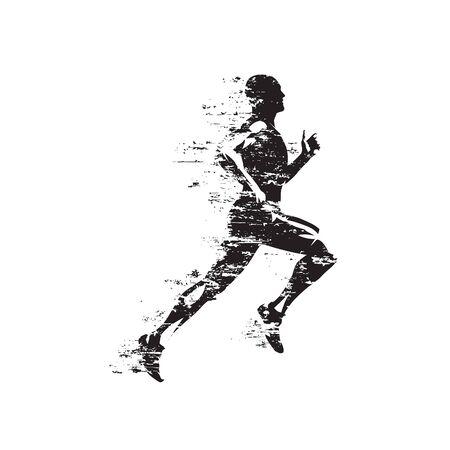 Run, sprinting running man, isolated vector silhouette, grungy style Illustration