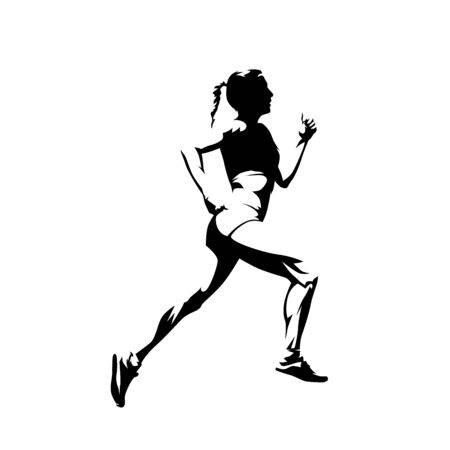 Running woman, side view isolated vector silhouette. Run, ink drawing