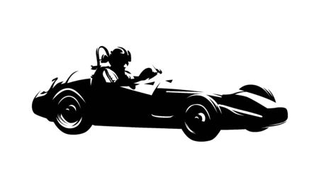 Retro racing car, isolated vector ink drawing. Side view formula silhouette Ilustracja