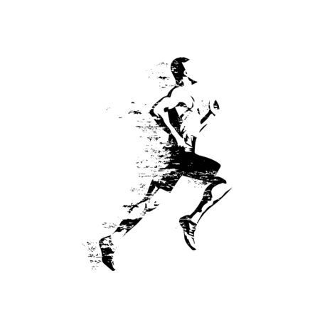 Running man, isolated vector silhouette, grungy style. Run Ilustracja