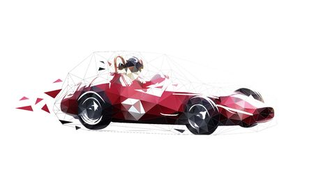 Retro racing car, low polygonal isolated vector illustration. Geometric drawing of red old formula car. Side view