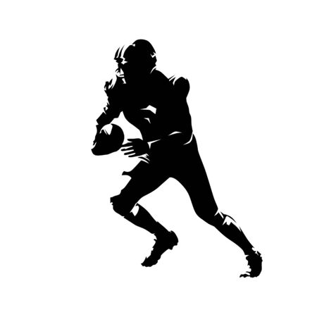 American football player running with ball, abstract ink drawing illustration. Isolated vector silhouette