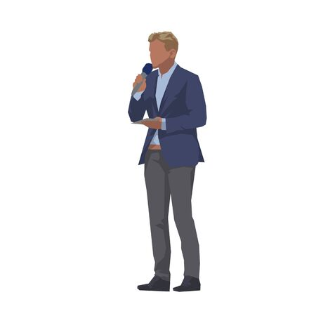 Tv reporter or commentator standing and talking on microphone, isolated flat design vector illustration. Work in the media Ilustracja