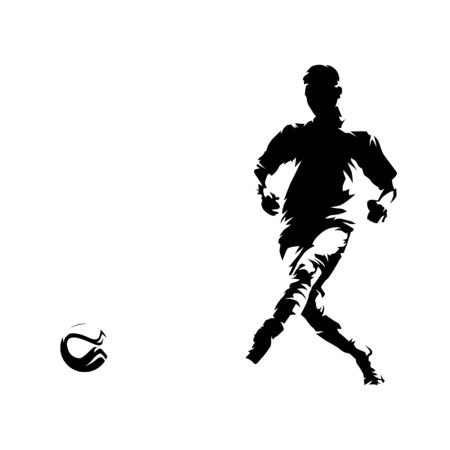 Soccer player kicking ball and scoring goal, vector illustration. Isolated footballer