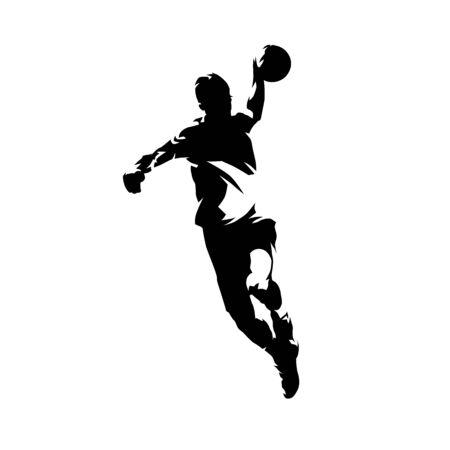 Giocatore di pallamano che lancia la palla e segna un goal