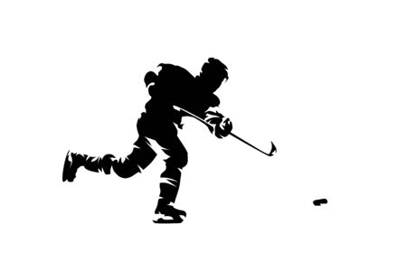 Hockey player shooting puck, ink drawing. Vector Illustration Keywords: Ice hockey