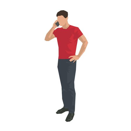 Man calling with cell phone, flat design illustration. Adult man in red shirt standing and talking with somebody. Vector Illustration Keywords: Ilustracja