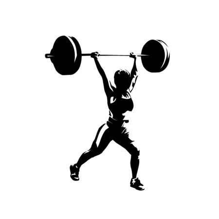 Woman lifting big barbell, isolated vector silhouette, ink drawing