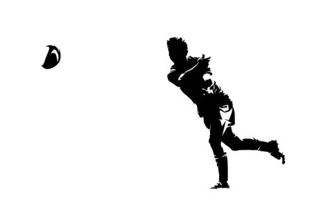 Rugby player passing ball, ink drawing. Abstract isolated silhouette Ilustração