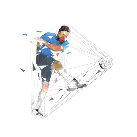 Soccer player kicking ball and scoring goal, abstract low polygonal geometric vector illustration. Isolated footballer in blue jersey Ilustracja