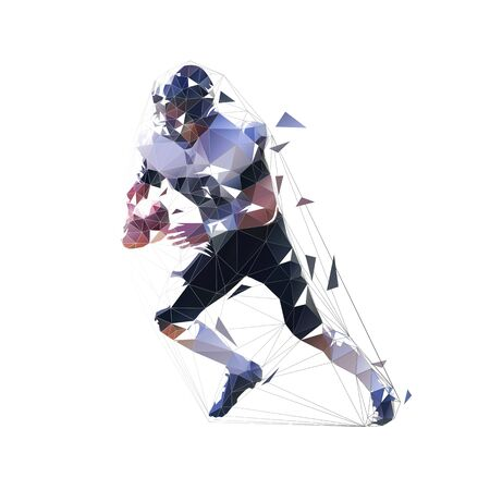 American football player running with ball, abstract polygonal vector illustration. Isolated Geometric Football Athlete in Black and White Jersey Holding Ball