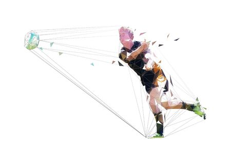 Rugby player passing ball, low polygonal geometric vector illustration Ilustracja