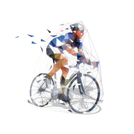 Road cycling. Cyclist riding bike. Low polygonal isolated vector illustration