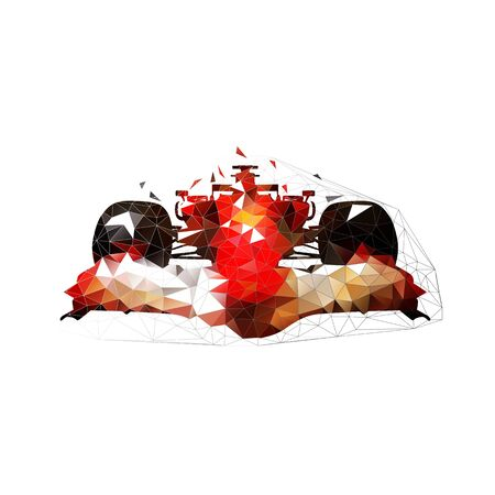Formula racing car, low polygonal geometric vector illustration. Extreme motorsport