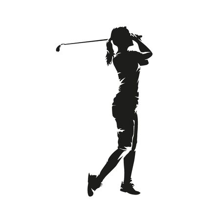 Young woman playing golf, isolated vector silhouette. Golf swing, side view Stock Illustratie