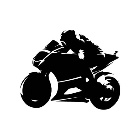 Road motorcycle racing, isolated vector silhouette, ink drawing. Motorbike side view