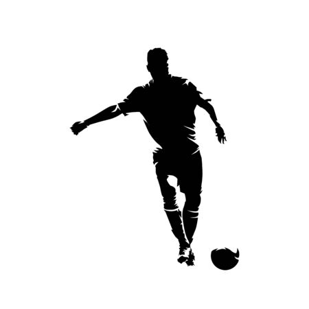 Soccer player kicking ball and scoring goal, abstract ink drawing vector silhouette. Isolated footballer Ilustracja