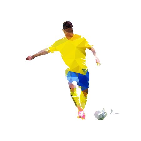 Soccer player kicking ball, low polygonal vector illustration. Isolated geometric footballer in yellow jersey, front view