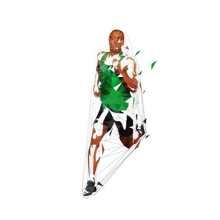 Running man, low polygonal vector illustration. Abstract geometric runner in green shirt, front view