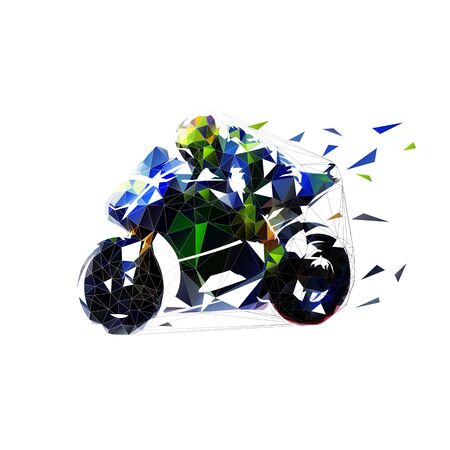 Motorcycle racer rides blue road bike. Moto racing, low polygonal blue motorbike, isolated geometric vector illustration. Side view