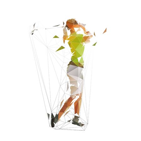 Golf woman, isolated low polygonal vector illustration. Geometric isolated colorful golfer Ilustracja