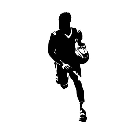 Basketball player running with ball, dribbling. Isolated vector silhouette, ink drawing, front view. Basketball point guard comic style illustration Ilustracja