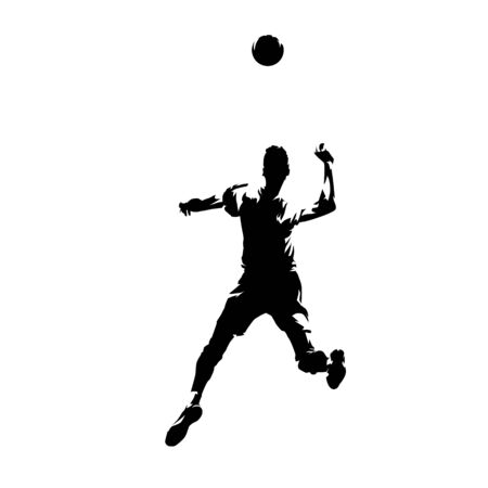 Volleyball player smashes the ball, isolated vector silhouette, ink drawing
