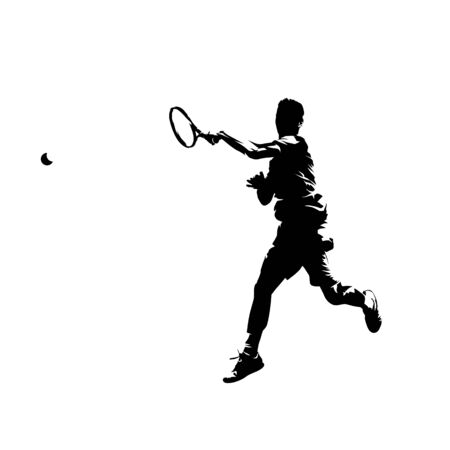 Tennis player forehand shot, isolated vector silhouette. Comic ink drawing