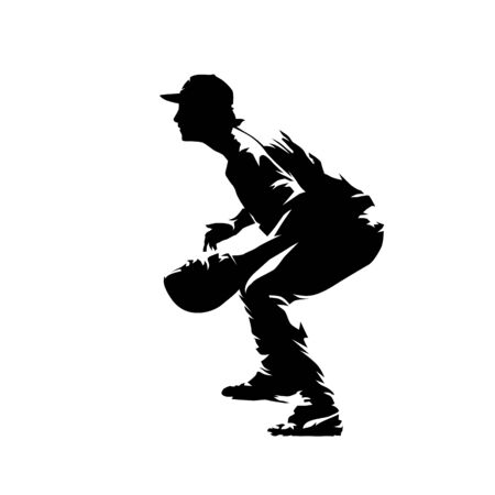Baseball catcher waiting for ball, side view. Isolated vector silhouette, comic ink drawing