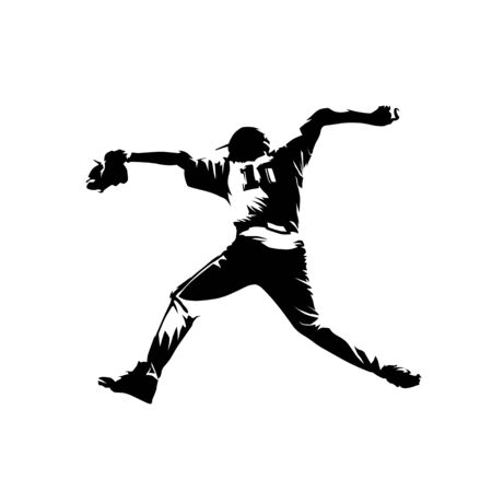 Baseball pitcher throwing ball, isolated vector silhouette, comic drawing. Baseball player