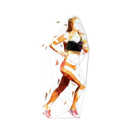 Running woman, abstract low poly isolated vector illustration. Run