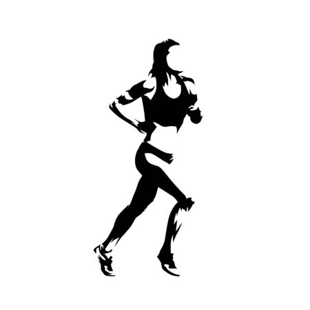 Running woman, abstract ink drawing isolated vector silhouette. Run