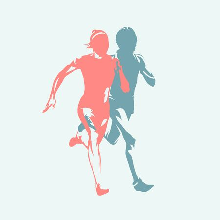 Running women, two girls running together, isolated vector silhouettes