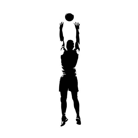 Volleyball player passing the ball, isolated vector silhouette, ink drawing