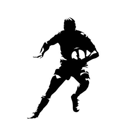 Joueur de rugby courant avec le ballon dans les mains, vue de face. Silhouette vecteur isolé