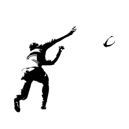Rugby player throwing ball, comic style, ink drawing. Abstract isolated silhouette. Rear view