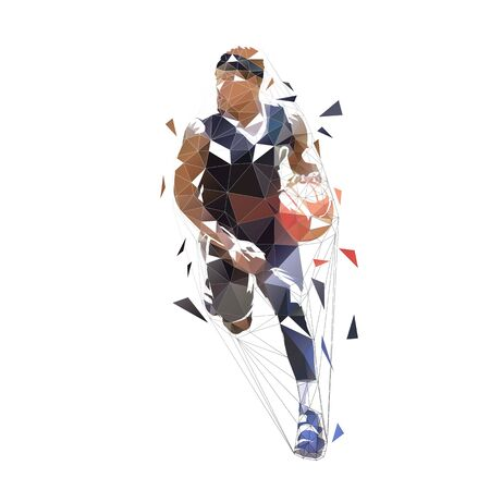 Basketball player running with ball, dribbling. Isolated vector low polygonal illustration, front view. Basketball point guard, geometric style