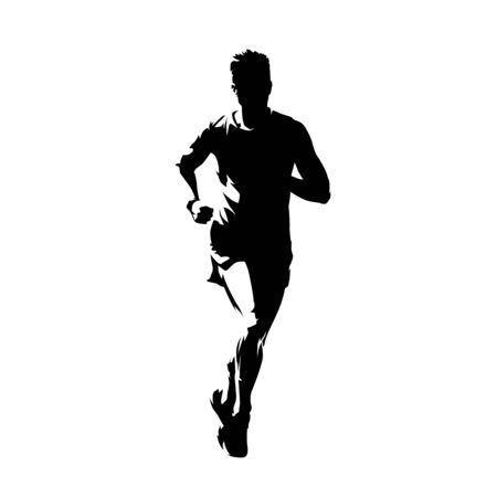 Runner, front view isolated vector ink drawing, abstract silhouette of marathon runner