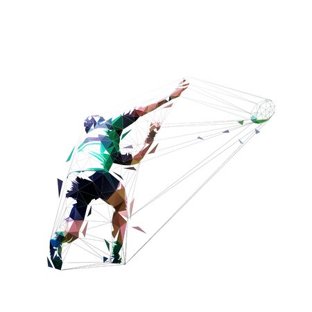 Rugby player throwing ball. Abstract isolated silhouette. Rear view Ilustracja