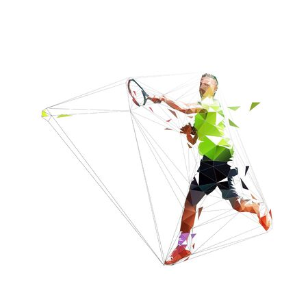 Tennis Player Forehand Shot, Isolated Low Polygonal Vector Illustration. Tennis smash, geometric drawing