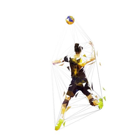 Volleyball player smashes the ball, isolated vector low polygonal illustration Ilustracja