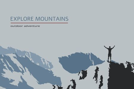 Man standing on top of mountain, outdoor adventure. Vector Illustration Keywords: