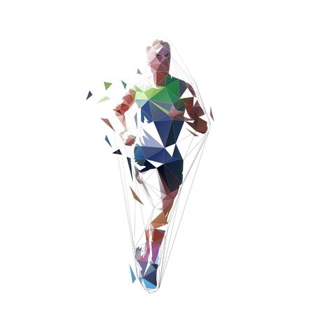 Running man, low polygonal vector illustration. Abstract geometric runner, front view