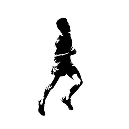 Running teenager, active people vector silhouette. Comic ink drawing runner