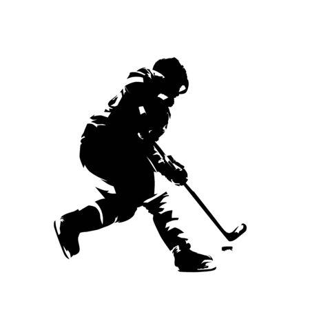 Giocatore di hockey che pattina con il disco, disegno a inchiostro in stile fumetto. Siluetta di vettore isolato. Hockey su ghiaccio