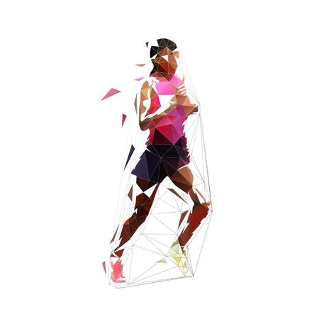 Running woman, abstract low polygonal isolated vector illustration. Geometric runner, side view