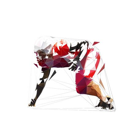 American football player in red jersey, defensive line position. Abstract isolated low poly vector illustration, side view Ilustracja
