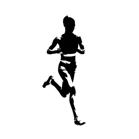 Running woman, abstract ink drawing isolated vector silhouette, comic style. Marathon runner