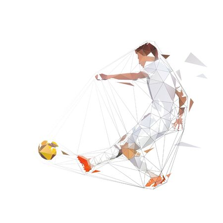 Soccer player in white jersey kicking ball and scoring goal, abstract low polygonal geometric vector illustration. Isolated low poly footballer