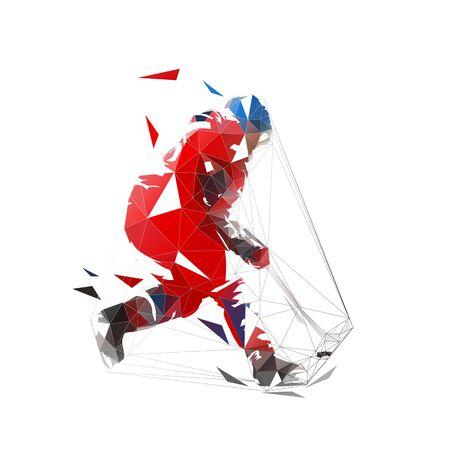 Eishockeyspieler im roten Trikot, der Puck, geometrische polygonale Zeichnung schießt. Isolierte Vektor-Illustration. Eishockey-Athlet Vektorgrafik